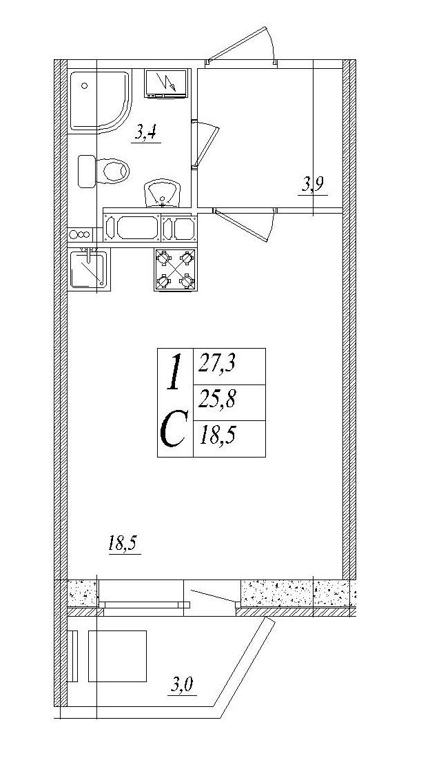 Планировка Студия площадью 27.3 кв.м в ЖК «Тридевяткино Царство»