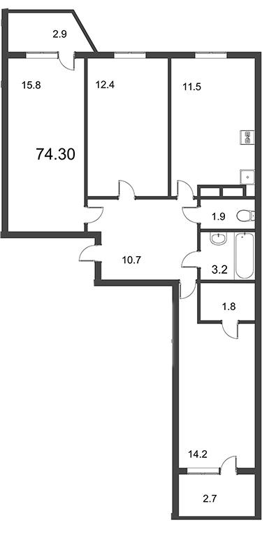 Планировка Трёхкомнатная квартира площадью 74.3 кв.м в ЖК «Тридевяткино Царство»